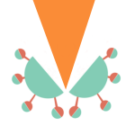 Stylised image of the coronavirus being cut in half by a large orange triangle.