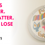 """The text of 7-year-old Cayden's 7 Word Story """"Rights matter. We matter. Don't lose hope"""" beside a wooden shield with the text """"push for change."""""""