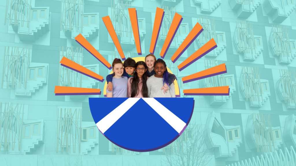 Smiling children inside a semicircle with the Scottish flag on it and sun rays behind, with the Scottish Parliament in the background.