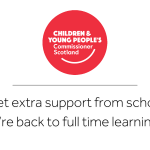 """Our logo above the text """"Can I get extra support from school now we're back to full time learning?"""""""