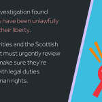 """Icon of magnifying glass and padlock beside text: """"Our latest investigation found children may have been unlawfully deprived of their liberty. Local authorities and the Scottish Government must urgently review practice to make sure they're complying with legal duties and with human rights."""""""
