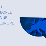 A speech bubble containing an image of the continent of Europe, beside the text ENYA 2021: Young people speaking up across Europe