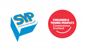 The logos of the Scottish Youth Parliament and the Children and Young People's Commissioner Scotland.
