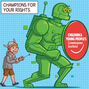 Cartoon of a boy in a Viking helmet remote-controlling a large green robot, who carries a shield with the logo of the Children and Young People's Commissioner Scotland.